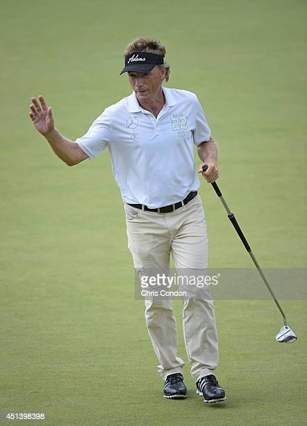 Bernhard Langer of Germany makes a birdie putt on the 12th green during the third round of the Constellation SENIOR PLAYERS Championship at Fox...