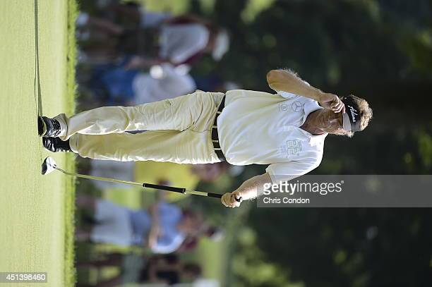 Bernhard Langer of Germany makes a birdie putt on the 14th green during the third round of the Constellation SENIOR PLAYERS Championship at Fox...