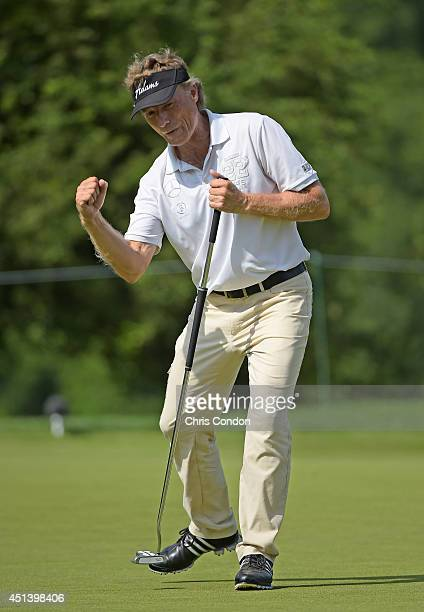 Bernhard Langer of Germany makes a birdie putt on the 16th green during the third round of the Constellation SENIOR PLAYERS Championship at Fox...