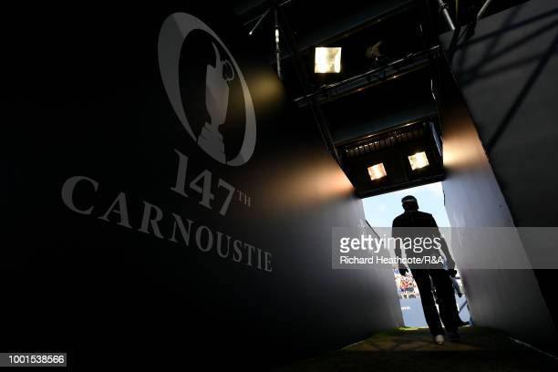 Bernhard Langer of Germany makes his way through the stand towards the first tee during round one of the 147th Open Championship at Carnoustie Golf...