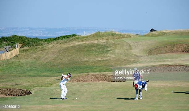 Bernhard Langer of Germany on the par four 2nd hole during the second round of the Senior Open Championship at Royal Porthcawl Golf Club on July 25...