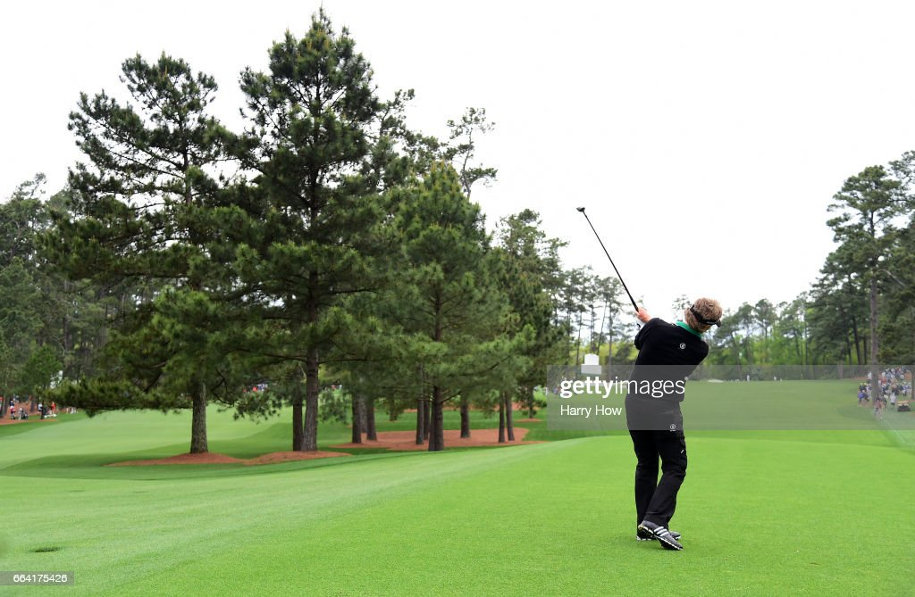 Bernhard Langer of Germany plays a shot during a practice round prior to the start of the 2017 Masters Tournament at Augusta National Golf Club on April 3, 2017 in Augusta, Georgia.