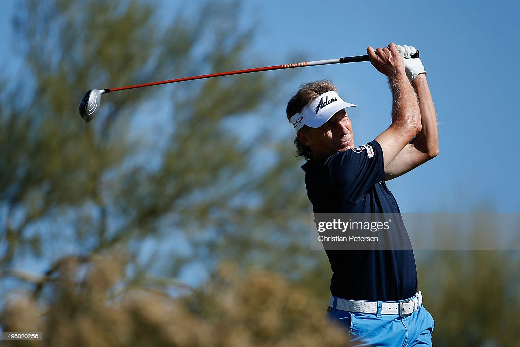 Bernhard Langer of Germany plays a tee shot on the third hole during the second round of the Charles Schwab Cup Championship on the Cochise Course at The Desert Mountain Club on November 6, 2015 in Scottsdale, Arizona.