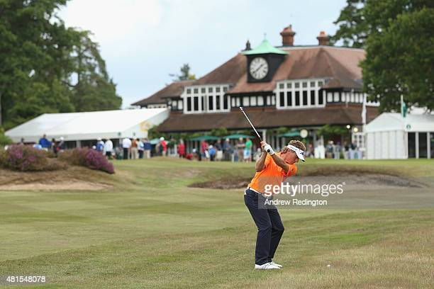 Bernhard Langer of Germany plays his second shot on the 18th hole during practice for The Senior Open Championship at Sunningdale Golf Club on July...