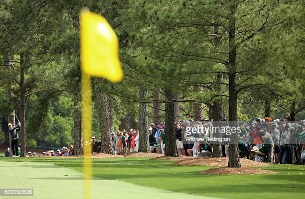 Bernhard Langer of Germany plays his second shot on the first hole during the final round of the 2016 Masters Tournament at Augusta National Golf...
