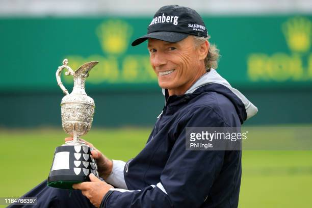 Bernhard Langer of Germany poses with the champions trophy after the final round of the Senior Open presented by Rolex played at Royal Lytham St...