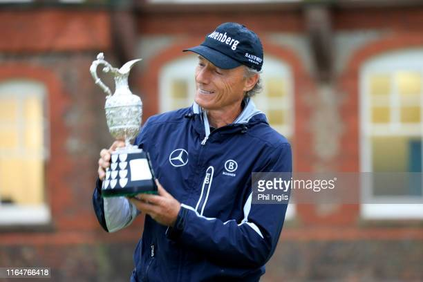 Bernhard Langer of Germany poses with the champions trophy after the final round of the Senior Open presented by Rolex played at Royal Lytham & St....
