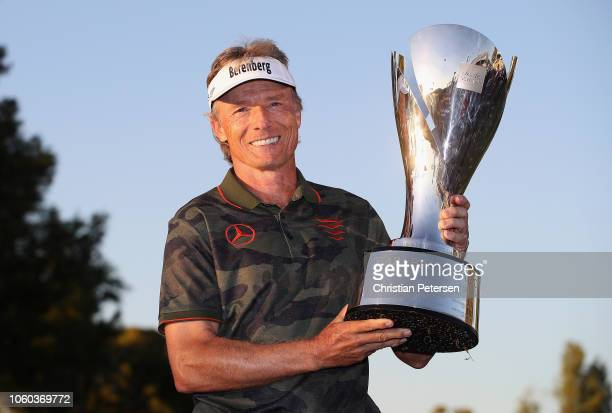 Bernhard Langer of Germany poses with the Charles Schwab Cup after winning the seaon long overall standings during the Charles Schwab Cup...