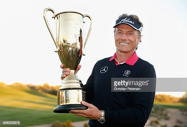 Bernhard Langer of Germany poses with the Charles Schwab Cup after winning the season championship which concluded in the final round of the Charles...