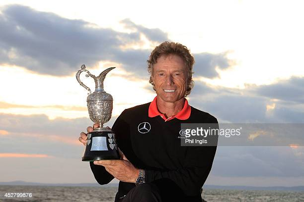 Bernhard Langer of Germany poses with the trophy after the final round of the Senior Open Championship played at Royal Porthcawl Golf Club on July 27...