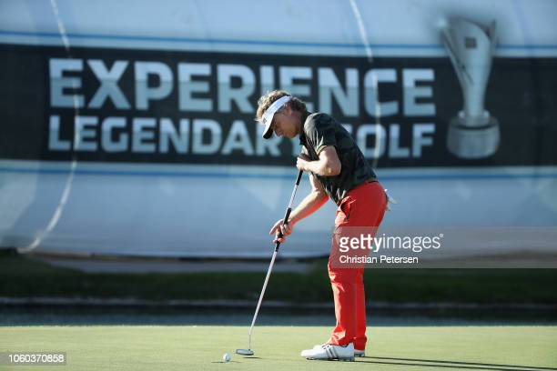 Bernhard Langer of Germany putts on the 18th green during the final round of the Charles Schwab Cup Championship at Phoenix Country Club on November...