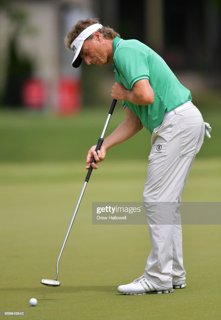 Bernhard Langer of Germany putts on the eighth hole during the second round of the Regions Tradition at the Greystone Golf & Country Club on May 18, 2018 in Birmingham, Alabama.