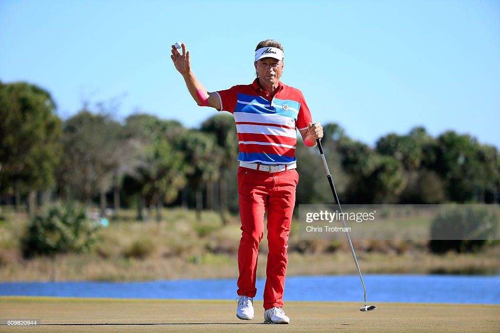 Bernhard Langer of Germany reacts after a birdie on the 18th hole during the first round of the 2016 Chubb Classic at the TwinEagles Club on February 12, 2016 in Naples, Florida.
