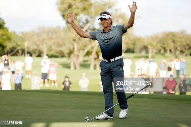 Bernhard Langer of Germany reacts after making a birdie putt on the 18th green to win the Oasis Championship at The Old Course at Broken Sound on...