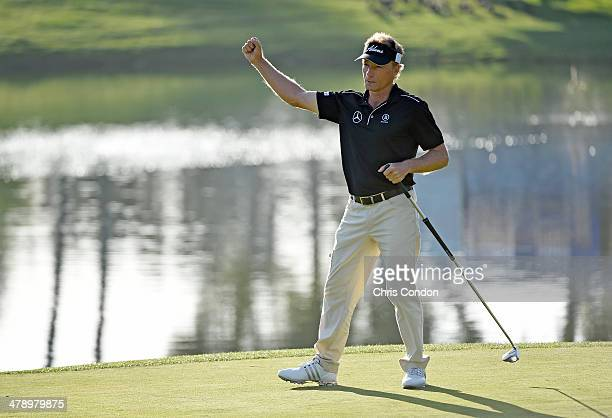 Bernhard Langer of Germany reacts after making a birdie putt on the 17th hole during the second round of the Champions Tour Toshiba Classic at...