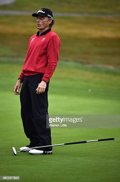 Bernhard Langer of Germany reacts to a missed putt on the 123th green during the final round of The Senior Open Championship on the Old Course at...