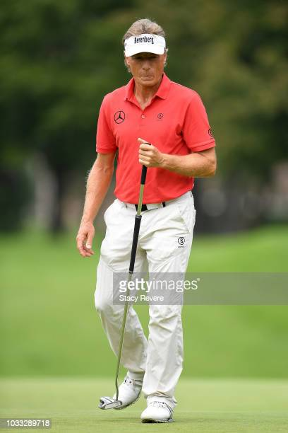 Bernhard Langer of Germany reacts to a putt on the first green during the first round of the Ally Challenge presented by McLaren at Warwick Hills...