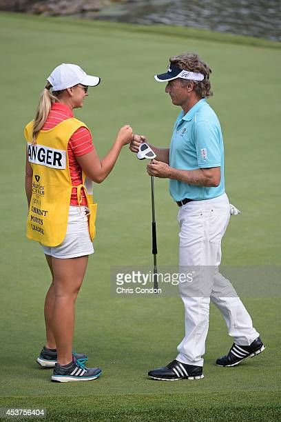 Bernhard Langer of Germany saves par on the 15th hole during the final round of the Champions Tour Dick's Sporting Goods Open at EnJoie Golf Course...