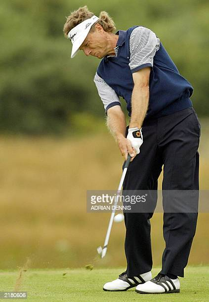Bernhard Langer of Germany tee's off on the 5th hole at The Open Championship at Royal St George's in Sandwich 18 July 2003 AFP PHOTO / Adrian DENNIS