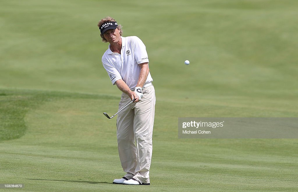 Bernhard Langer of Germany, the defending champion, hits his second shot on the seventh hole during the second round of the 3M Championship at TPC Twin Cities held on August 7, 2010 in Blaine, Minnesota.