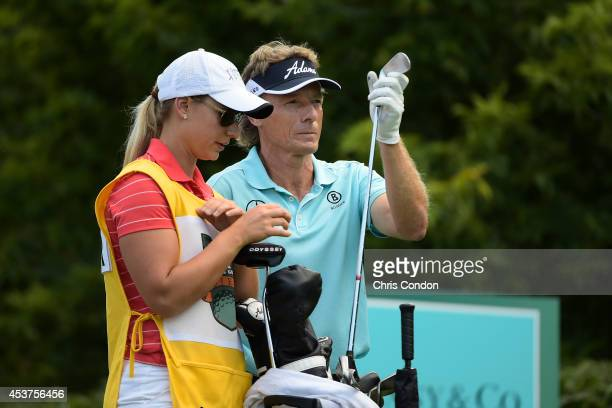 Bernhard Langer of Germany waits to tee off on the 16th hole during the final round of the Champions Tour Dick's Sporting Goods Open at EnJoie Golf...