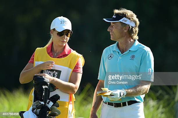 Bernhard Langer of Germany waits to tee off on the 17th hole during the final round of the Champions Tour Dick's Sporting Goods Open at EnJoie Golf...