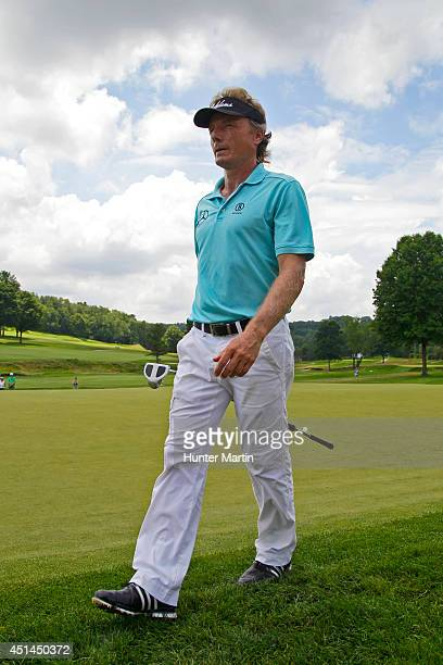 Bernhard Langer of Germany walks off the green on the sixth hole during the final round of the Constellation Senior Players Championship at Fox...