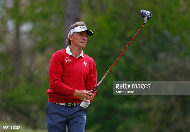 Bernhard Langer of Germany watches his tee shot on the second hole during the second round of the Rapiscan Systems Classic at Fallen Oak Golf Course...
