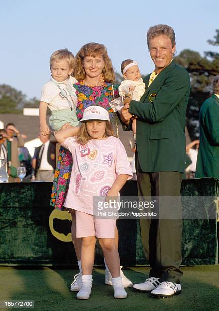 Bernhard Langer of Germany with his wife Vikki and their children Stefan Jackie and Christina after winning the US Masters Golf Tournament held at...