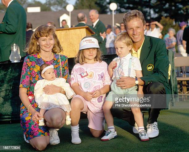 Bernhard Langer of Germany with his wife Vikki and their children Christina Jackie and Stefan after winning the US Masters Golf Tournament held at...