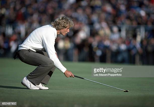 Bernhard Langer of West Germany in action during the British Open Championship at Royal St George's Golf Club Sandwich circa July 1981