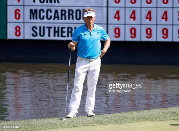 Bernhard Langer on the 18th green during the final round of the Mitsubishi Electric Classic tournament at the TPC Sugarloaf Golf Club Sunday April 16...