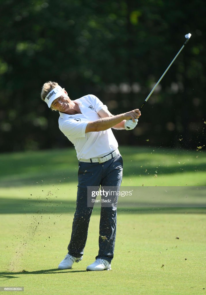 Bernhard Langer plays a shot on the first hole during the second round of the PGA TOUR Champions Regions Tradition at Greystone Golf & Country Club on May 19, 2017 in Birmingham, Alabama.