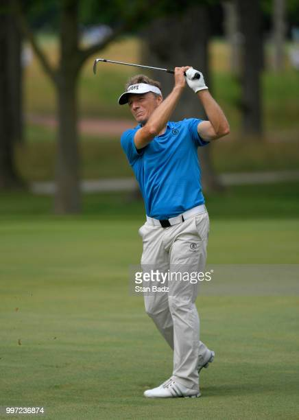 Bernhard Langer plays a shot on the seventh hole during the first round of the PGA TOUR Champions Constellation SENIOR PLAYERS Championship at Exmoor...