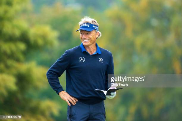 Bernhard Langer smiles as he waits to play his tee shot on the second hole during the second round of the SAS Championship at Prestonwood Country...