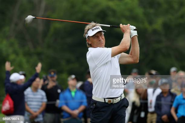 Bernhard Langer tees off on the 16th hole during the final round of the Senior PGA Championship at Trump National Golf Club on May 28 2017 in...