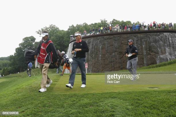 Bernhard Langer walks off the second tee during Round 3 of the Senior PGA Championship at Trump National Golf Club on May 27 2017 in Sterling Virginia