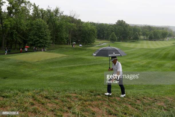 Bernhard Langer walks to the second tee during the final round of the Senior PGA Championship at Trump National Golf Club on May 28 2017 in Sterling...
