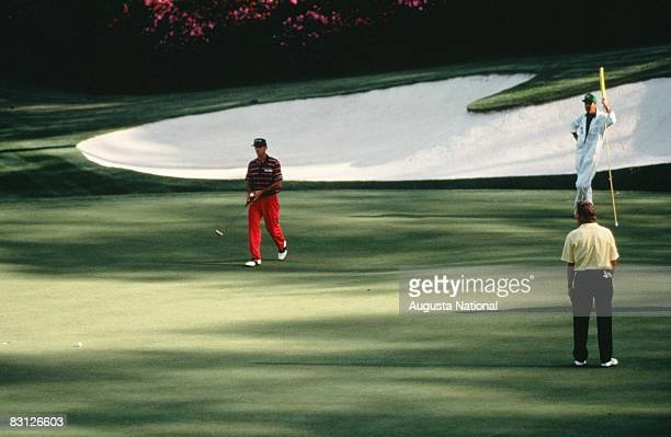 Bernhard Langer Watches His Eagle Putt On The 13th Green During The Final Round Of The 1993 Masters Tournament