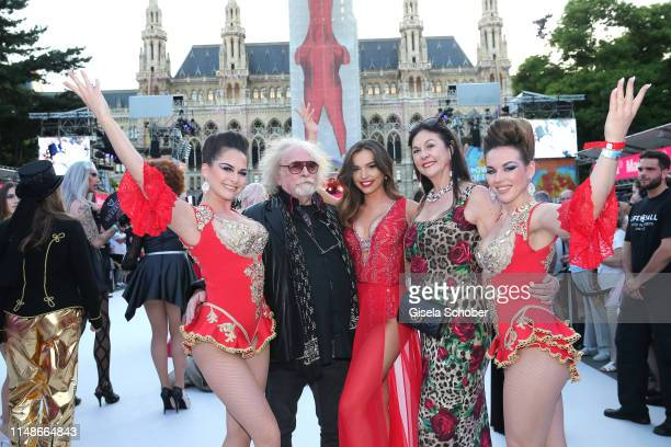 Bernhard Paul and his wife Eliana Larible and daughter Vivi and Lili and guest arrives with family members for the Life Ball 2019 at City Hall on...