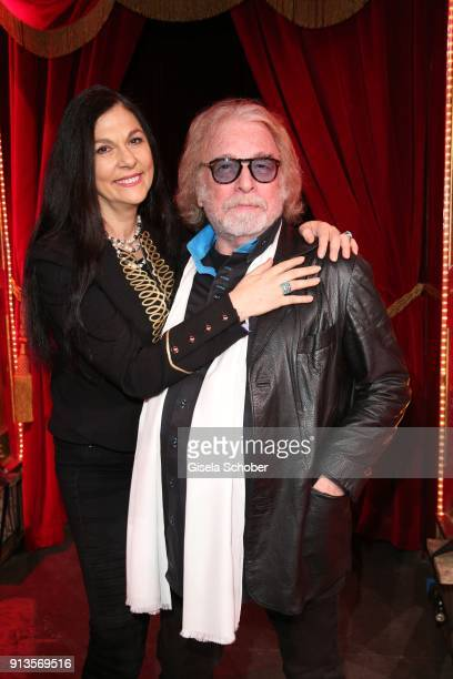 Bernhard Paul and his wife Eliana Larible during Michael Kaefer's 60th birthday celebration at Postpalast on February 2, 2018 in Munich, Germany.