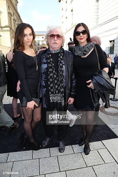 Bernhard Paul with his wife Eliana Larible and daughter Lily during the Gerd Kaefer funeral service at AllerheiligenHofkirche in Munich on June 2...