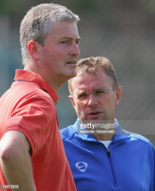 Bernhard Peters Hoffenheims manager for secondary growth talks with Ralf Rangnick head coach of Hoffenheim talks during a Training Session at the TSG...