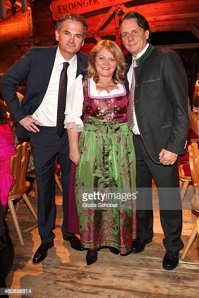 Bernhard Schadeberg CEO Krombacher Bier Alexandra Schoerghuber and her boyfriend Bernd Werndl during the 75th birthday party of Werner Brombach on...