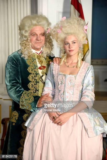 Bernhard Schuetz and Jeanne Goursaud during the Photo Call at the set of the ARD fairytale TV movie 'Der Schweinehirt' at Schloss Friedrichsfelde on...