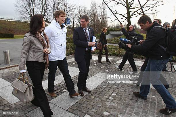 Bernhard Schwank , CEO of the Munich 2018 Bid Committee arrives with Katarina Witt Chair of the Munich 2018 Bid Commitee and Marcus Weber young...