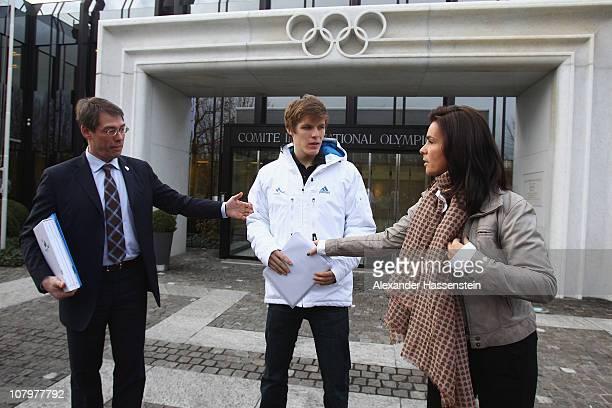 Bernhard Schwank , CEO of the Munich 2018 Bid Committee, Katarina Witt Chair of the Munich 2018 Bid Commitee and Marcus Weber young german ice hoecky...