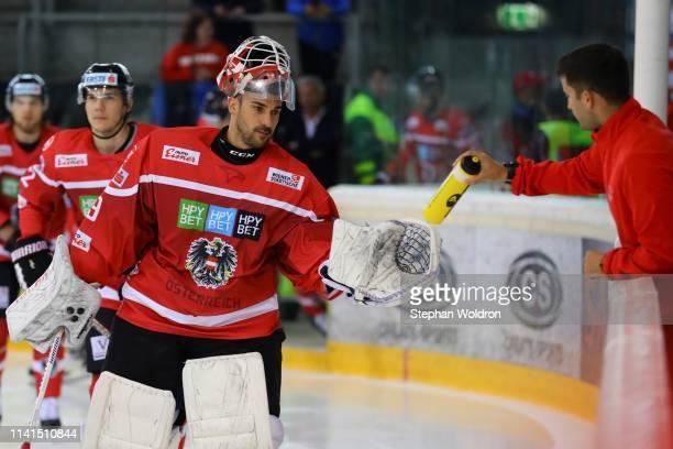 Bernhard Starkbaum of Austria during the Austria v Denmark - Ice Hockey International Friendly at Erste Bank Arena on May 5, 2019 in Vienna, Austria.