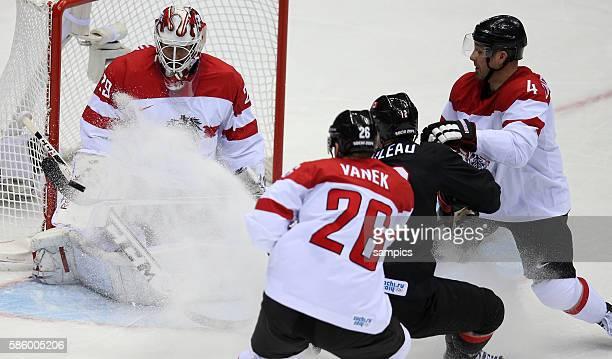 Bernhard Starkbaum , Thomas vanek , Patrick Marleau ( 12 , Gerhard Unterluggauer Ice Hockey men Premilary Round Group B , Game 9 Bolshoy Ice Dome...