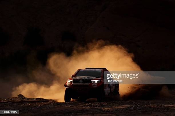 Bernhard Ten Brinke of the Netherlands and Toyota Gazoo Racing drives with codriver Michel Perin of France in the Toyota Car in the Classe T11 4x4...